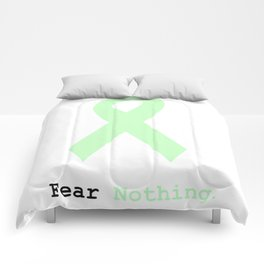 Fear Nothing: Mint Green Awareness Ribbon Comforters