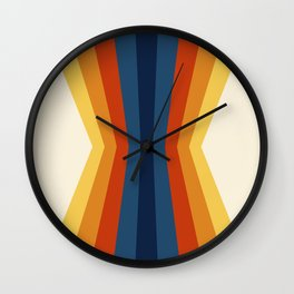 Bright 70's Retro Stripes Reflection Wall Clock