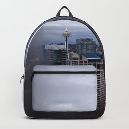 Seattle Skyline and Space Needle on a Cloudy Day Backpack
