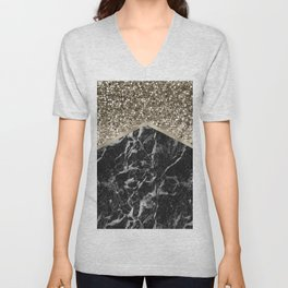 Shimmering golden chevron black marble Unisex V-Neck