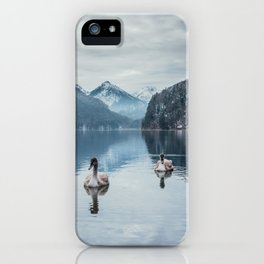 Couple of swans, romantic scene in bavarian alps iPhone Case