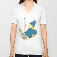 smoking V-neck T-shirts featuring Smoking by YTRKMR