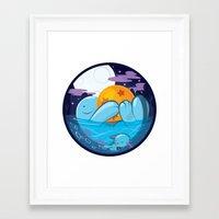 dragonball Framed Art Prints featuring Quagsire & Dragonball by Valechu