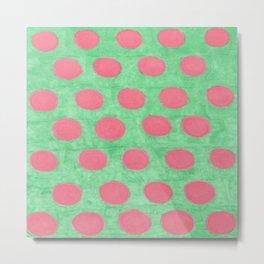 Pink and Green Polka Dots Metal Print