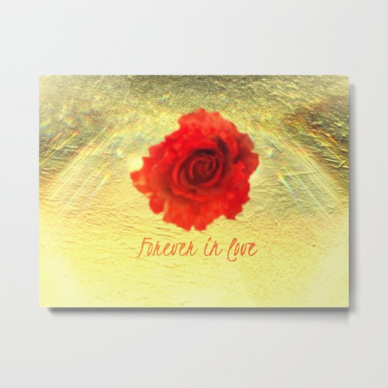 Forever in love red rose on  gold with rays  Metal Print