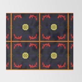 Koi Ying and Yang - Symmetrical Art2 Throw Blanket
