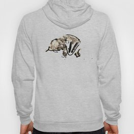 British Badger Ink and Watercolour Illustration Hoody