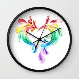 Heart of Rainbow Drops Wall Clock