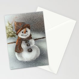 Happy Snowman In The Snow Stationery Cards