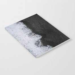 Aerial of a Black Sand Beach with Waves - Oceanscape Notebook