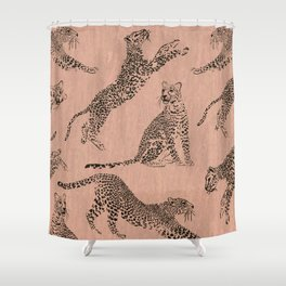 peach leopard pattern Shower Curtain