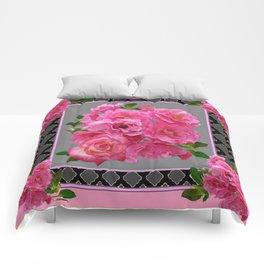 PINK ON PINK ROSE PATTERN GREY ART Comforters