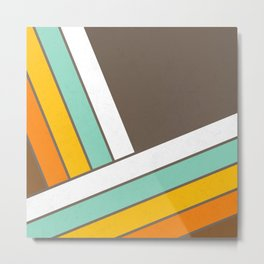 Retro 70s Stripes  -  Abstract Geometric Design Metal Print