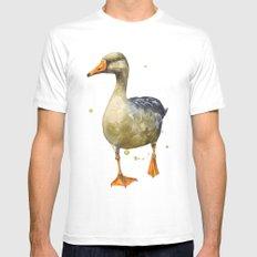 Goose, golden goose, goosey goosey gander, fowl art, farmyard animals, kitchen wall art Mens Fitted Tee MEDIUM White