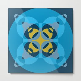 019 Abstract dark blue, yellow and cyan art for office decoration Metal Print