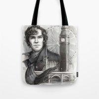 sherlock Tote Bags featuring Sherlock  by RileyStark
