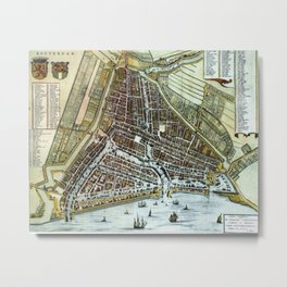 Vintage Map of Rotterdam Netherlands (1649)  Metal Print