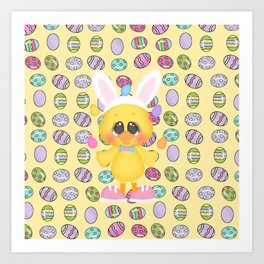 Easter Chick with Bunny Ears Art Print