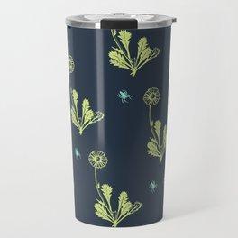 Spider Daisies (green + navy) Travel Mug