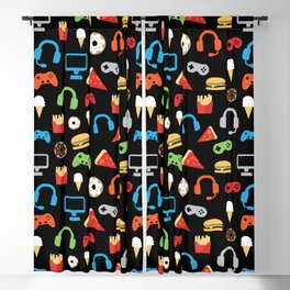 Video Game Party Snack Pattern Blackout Curtain