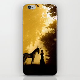 Magical Forest with a Lady and a Unicorn iPhone Skin