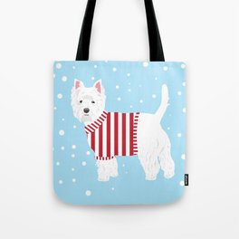 Westie Spots and Stripes Tote Bag