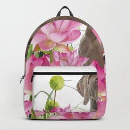 Weimaraner Lotos Flowers Backpack