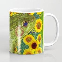 AVOCADO GREEN BOG FROG & YELLOW FLOWERS Coffee Mug