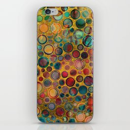 Dots on Painted and Gold Background iPhone Skin
