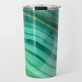 Ocean Blue And Green Mermaid Glamour Marble Travel Mug
