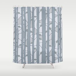 Into The Woods grey Shower Curtain
