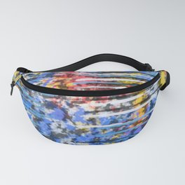Blue and Yellow Abstract with Pink Accents Fanny Pack