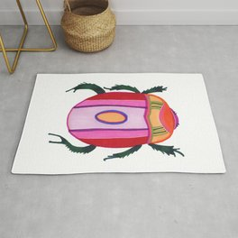 Pink and red fantasy beetle Louise Rug