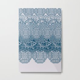 lace border with floral and geo in teal Metal Print