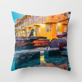 rusty pier Throw Pillow