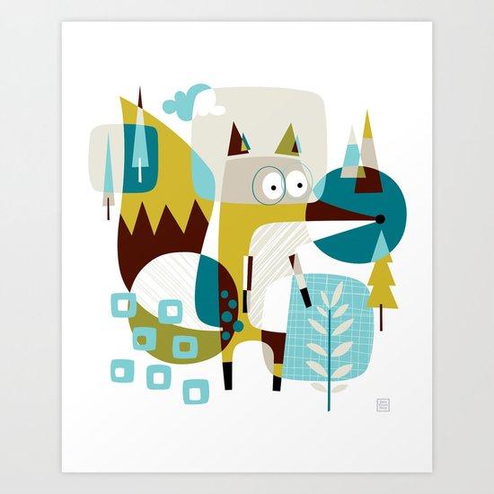 Fox in a box Art Print
