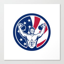 American Physical Fitness USA Flag Icon Canvas Print