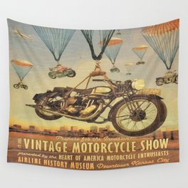 Vintage Motorcycle Show Poster Wall Tapestry