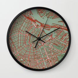 Amsterdam city map pop Wall Clock
