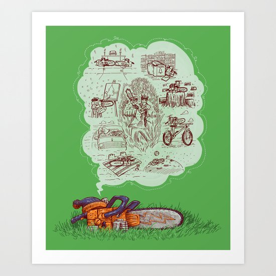 The Dreams of the Wonder Chainsaw Art Print