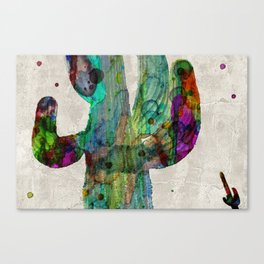 Rainbow Cactus Saguaro Poster print watercolor by Robert Erod Canvas Print