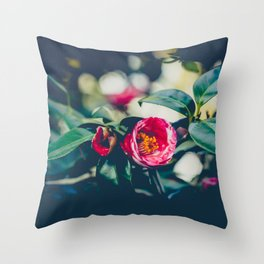 Red Blooming Camellia Flower Throw Pillow