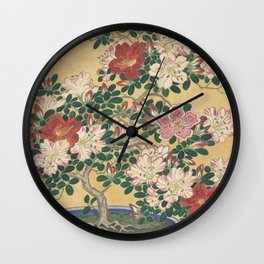 Blooming azalea in blue pot - Ohara Koson (1920 - 1930) Wall Clock