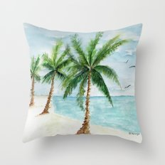 watercolor palm Throw Pillow