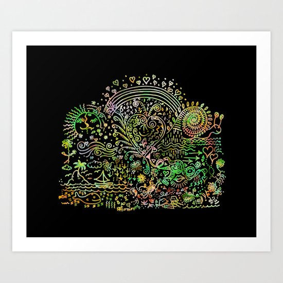 DoodleLand Two...Over the Rainbow Art Print
