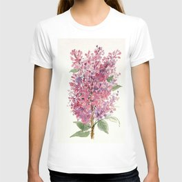 Pink Lilacs Floral Watercolor Garden Flower Nature Art T-shirt
