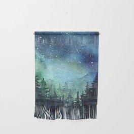 Galaxy Watercolor Aurora Borealis Painting Wall Hanging