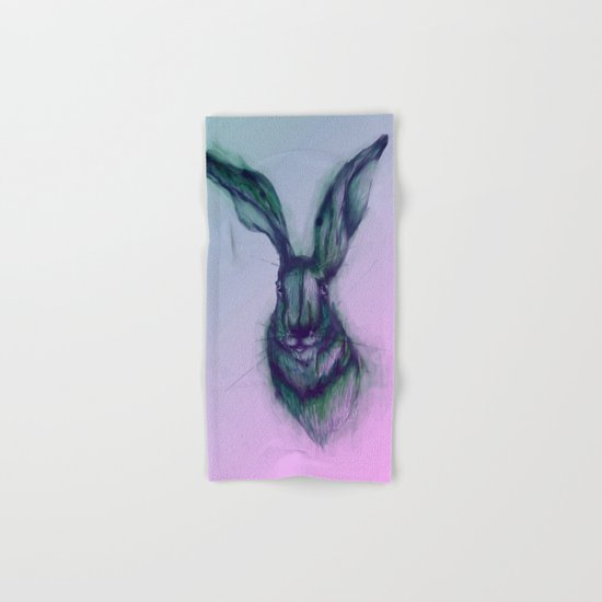 Blue Hare in Pink Hand & Bath Towel