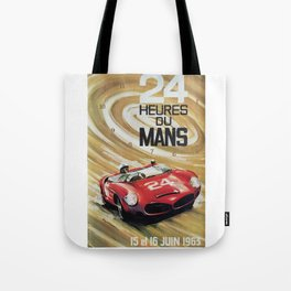 1963 Le Mans poster, Race poster, car poster, garage poster Tote Bag