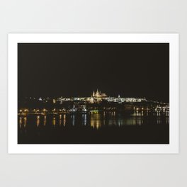 Cityscape at night. || Prague, Praha. || Night Photography. || European. || Panorama Art Print
